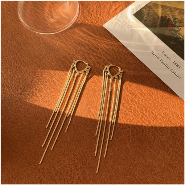 Tassel earrings pure silver ear pins hypoallergenic