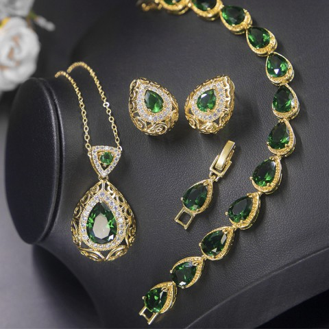 Noble Crystal 3in1 Drop shape Jewelry Set