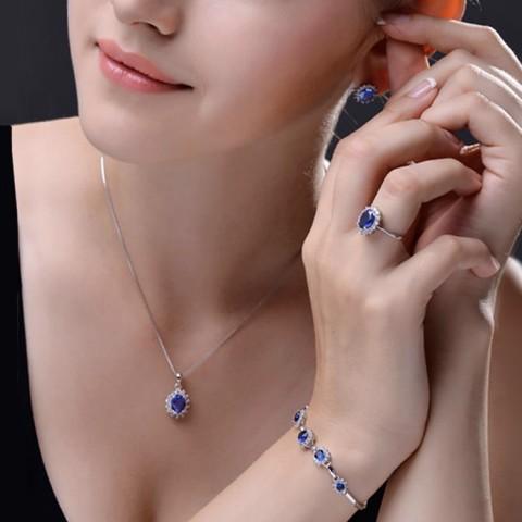 Classic British Royal Style Princess 4in1 Birthstone Jewelry Set