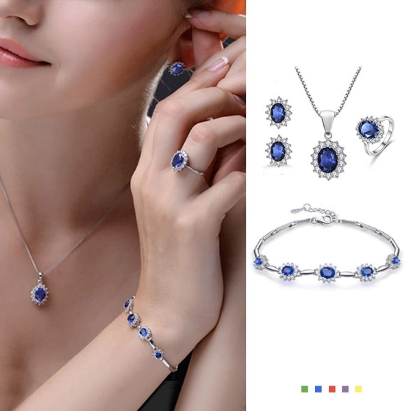 Classic British Royal Style Princess 4in1 Birthstone Jewelry Set