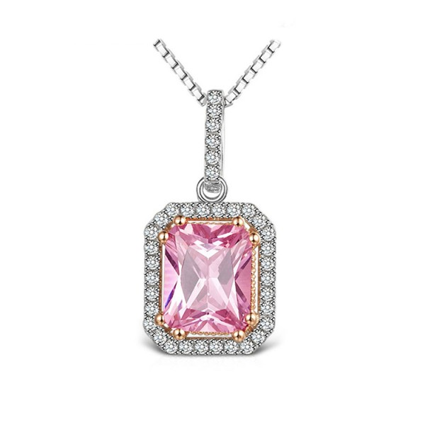 Artificial gem pink square necklace..