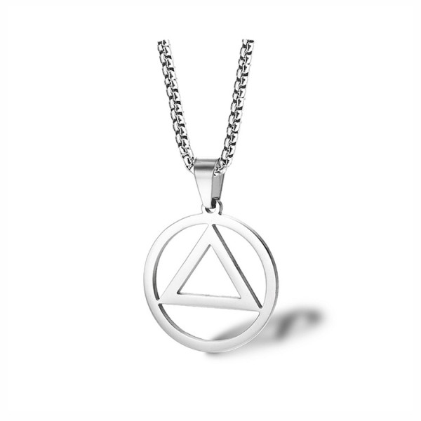 Eminem Style Triangle Pendant Titanium Steel Men s Necklace