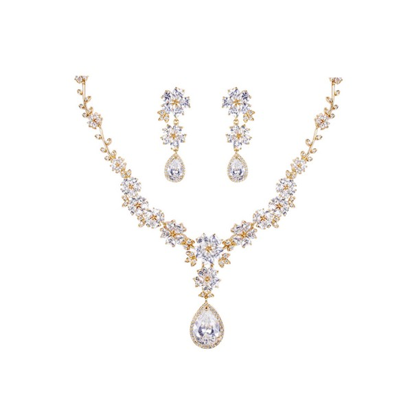 Sparkling Flower Zircon Bridal Jewellery Set Wedding Dinner Accessories