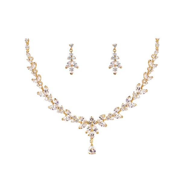 Classic Water Drop Zircon Bride Wedding Set